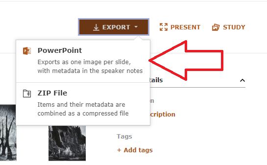 powerpoint export dropdown